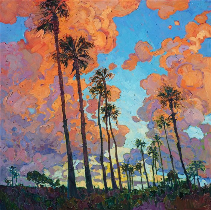 San Diego Palms Oil Painting For Investment Art By Modern