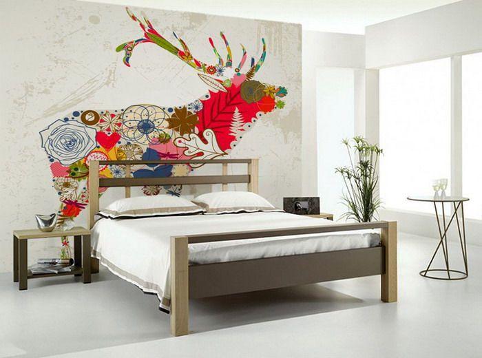 Bedroom ideas with flora deer wall mural