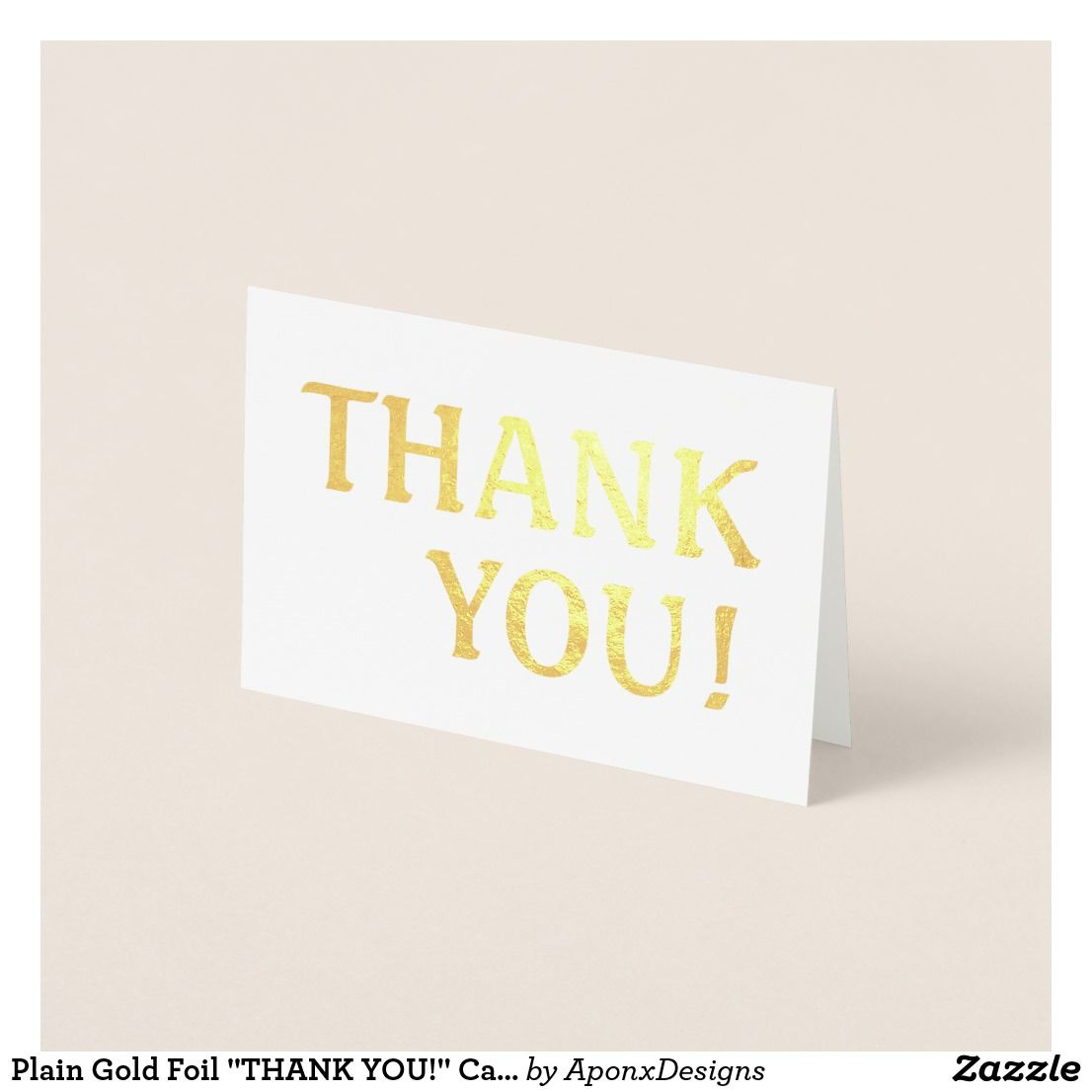 Plain Gold Foil Thank You Card Thank You Greeting Cards Pinterest