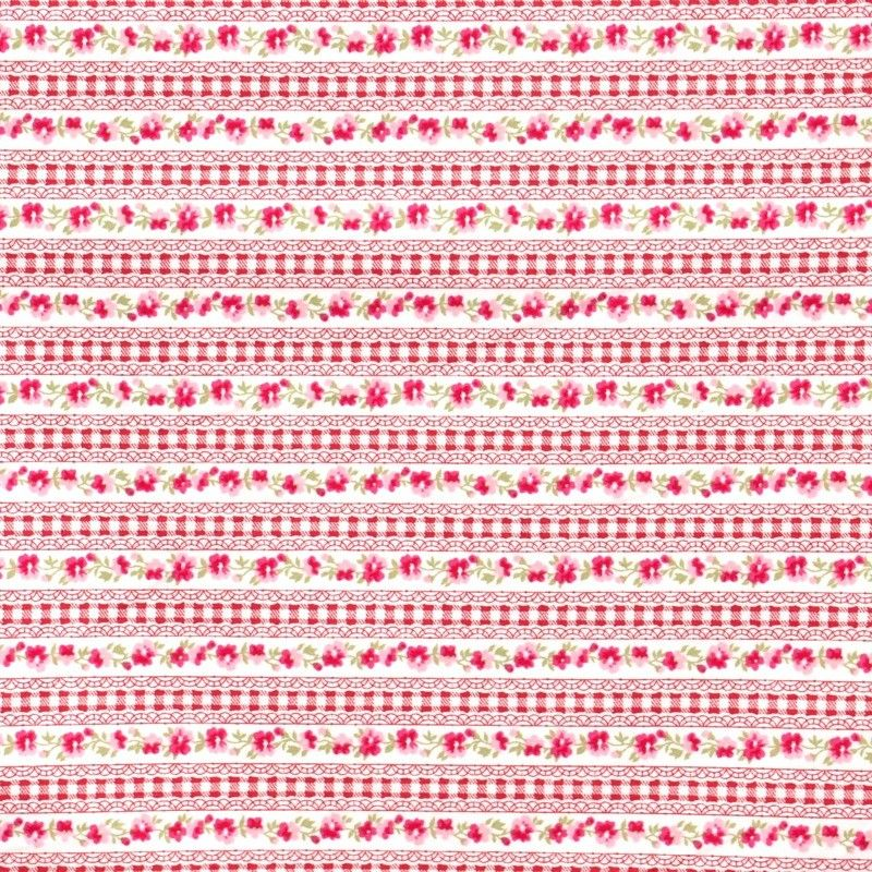 Red Gingham Lace Stripe £3.25 http//www.thehomemakery.co