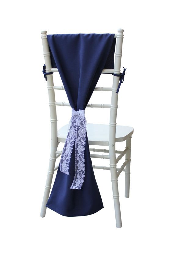 Navy Blue Chair Sash Chair Cover Hood