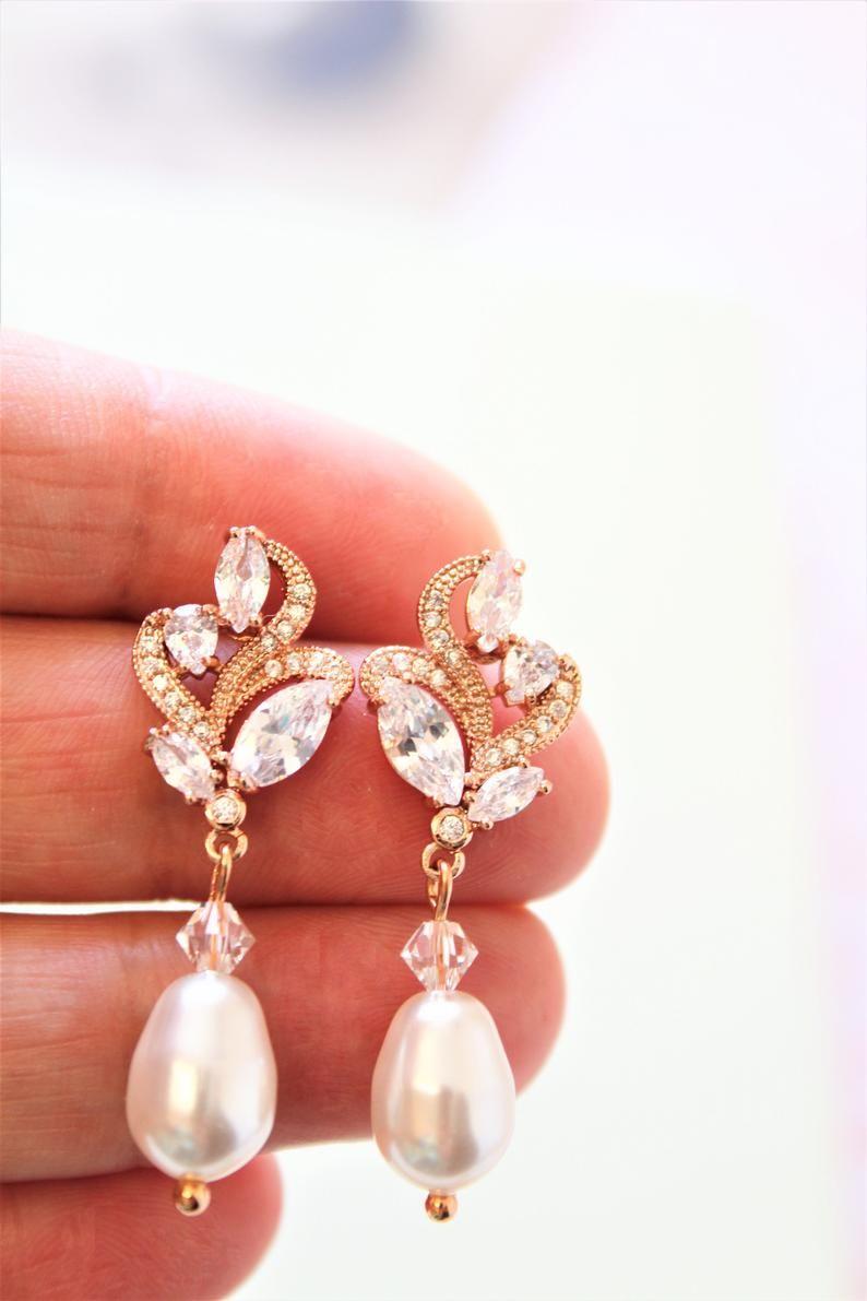 b25df4608f6b4 Rose Gold Bridal Earrings, Bridesmaid Jewelry, Art Deco Earrings ...