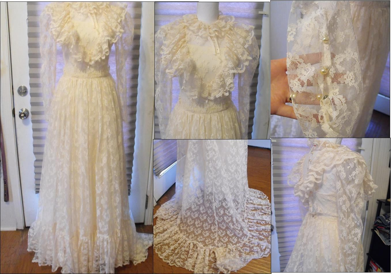 Vintage off white cream ivory us wedding gown dress prairie