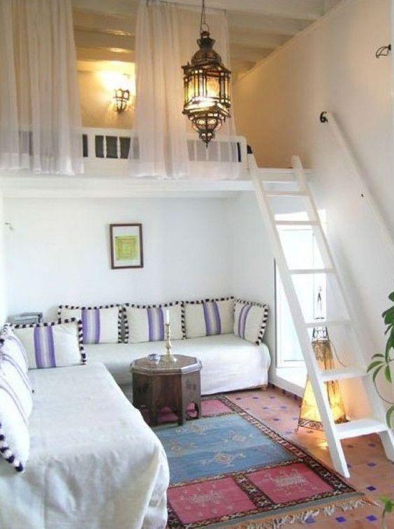 Schon Kleine Wohnung Einrichten Mit Hochbett_kleine Zimmer Einrichten In Weiß Mit  Loft Bed über Ecksofa