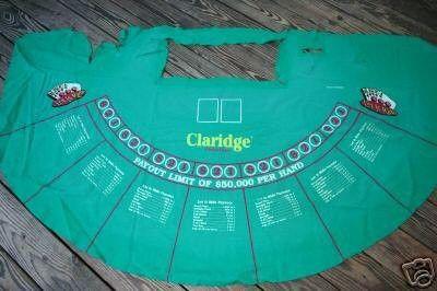 One Used Rare Claridge Hotel Casino Let It Ride Poker Felt Size