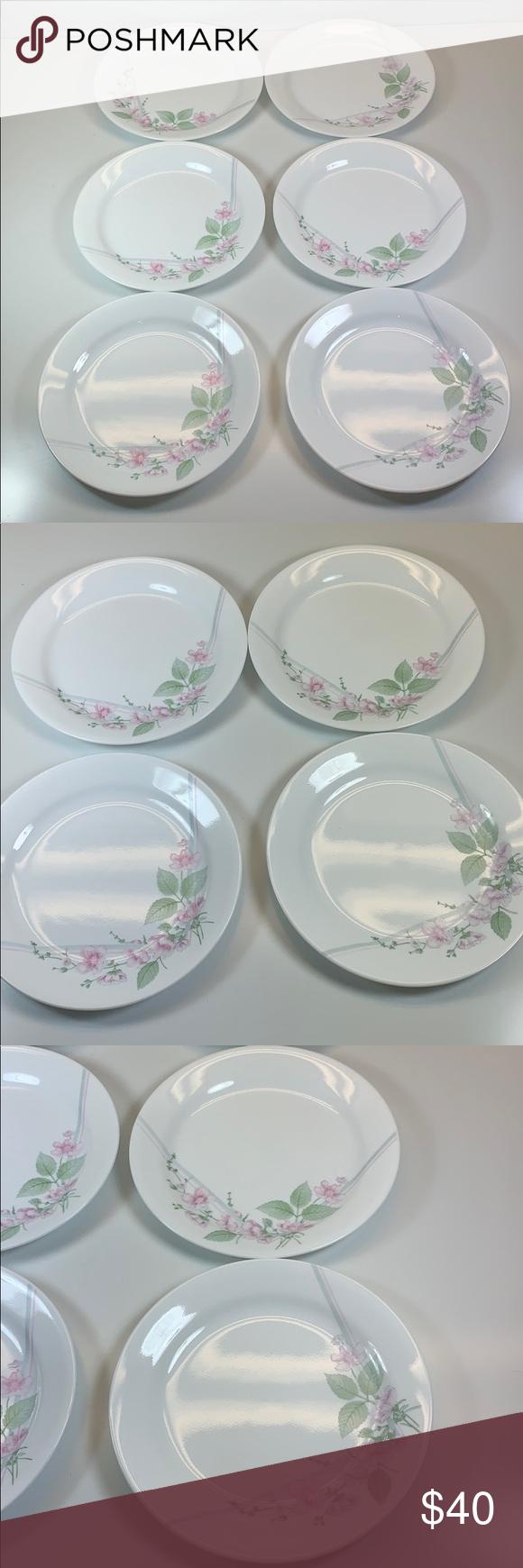 Corelle pink blossom floral bread dessert plates 6 | Pink ...