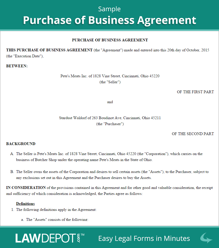Free Purchase Of Business Agreement Create Download And Print Within Share Purchase Agreement Contract Template Separation Agreement Template Purchase Contract