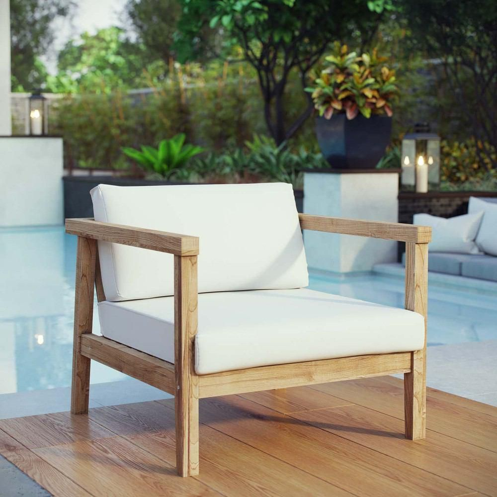 Modway Bayport Outdoor Patio Teak Armchair Natural White
