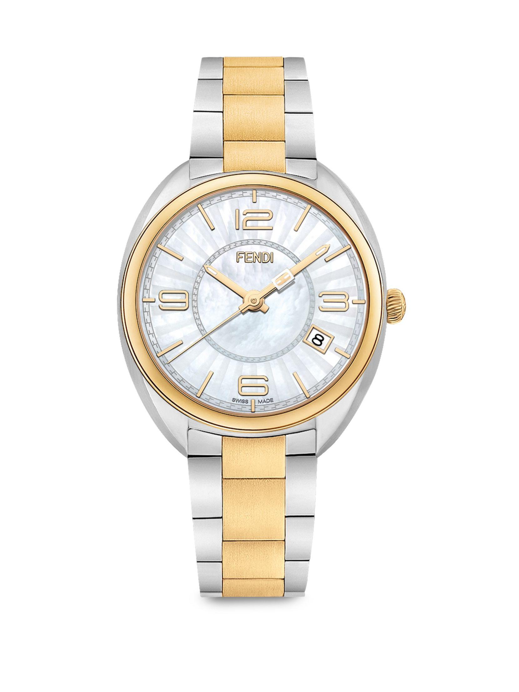 Fendi Momento Fendi Mother-Of-Pearl & Two-Tone Stainless Steel Bracelet Watch