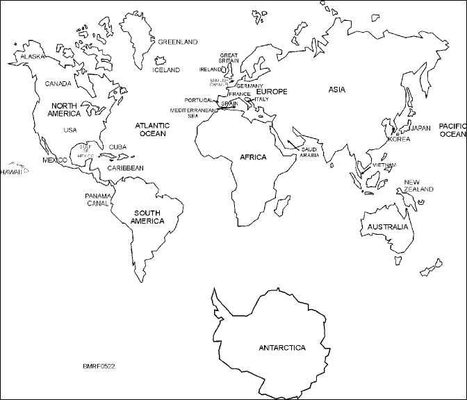 Black And Continents White Labled 7 Not