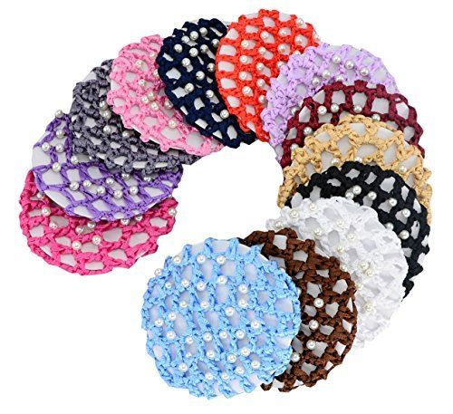 Hair Accessories | 13pcs Women Girl Bun Cover Snood Hair Net Ballet Dance Skating Chic Crochet With Pearl 13pcs * Click image for more details.-It is an affiliate link to Amazon. #HairAccessories