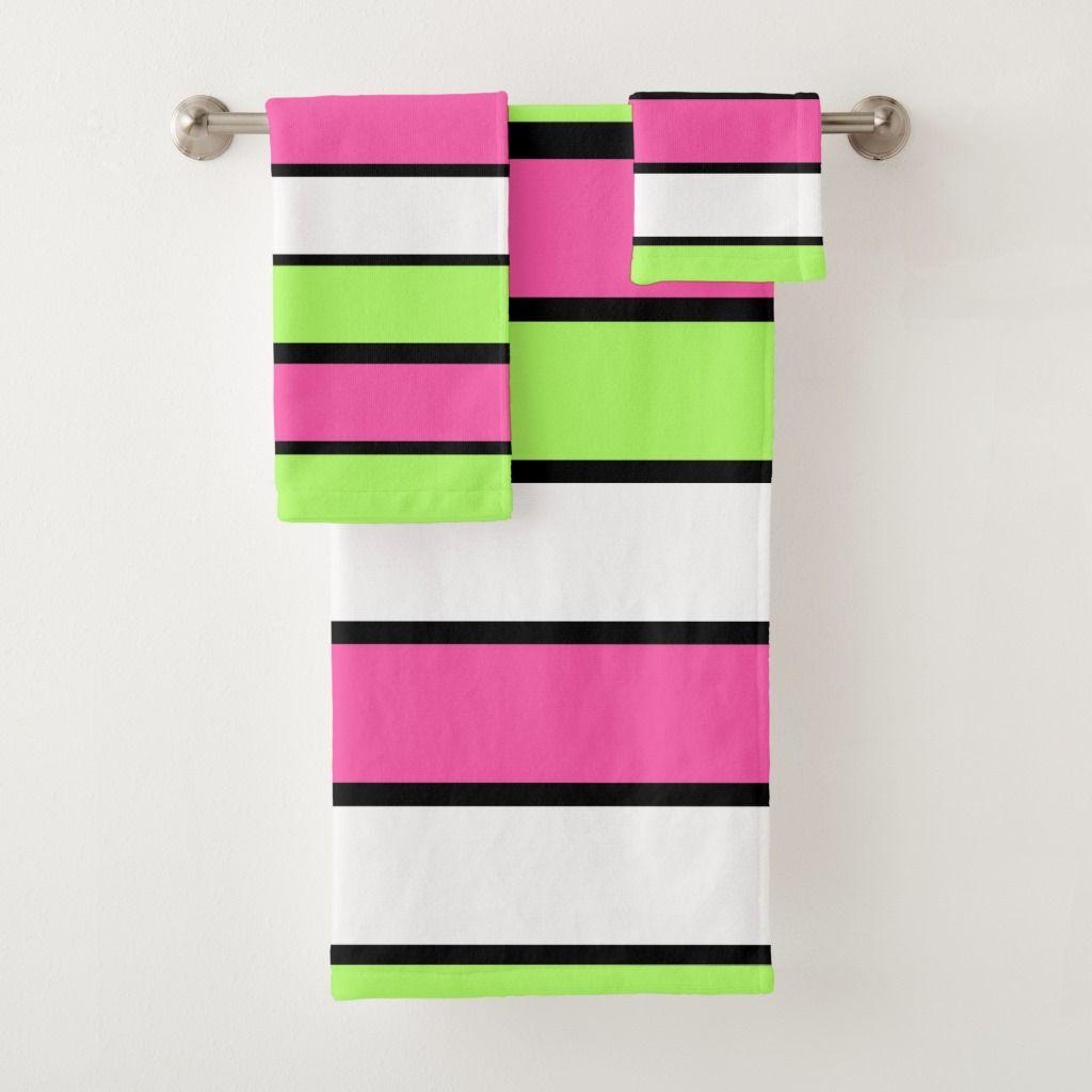 Hot Pink Lime Green Black And White Stripes Bath Towel Set