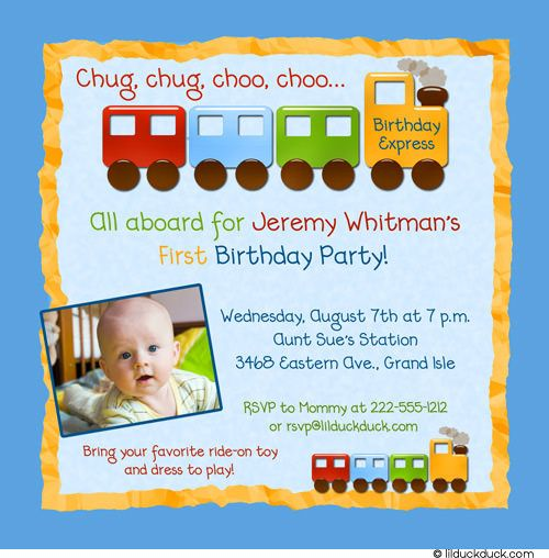 Summer Train 1st Birthday Invitation All Aboard the Express – Train Birthday Invitation Wording