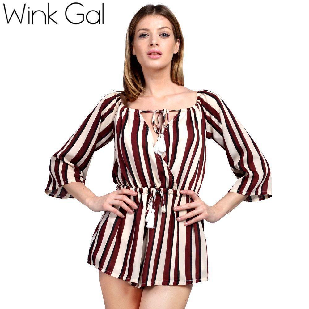 Wink Gal Summer Unique Romper Jumpsuit Shorts Keyhole Front Design Sexy Tassels Playsuit 339