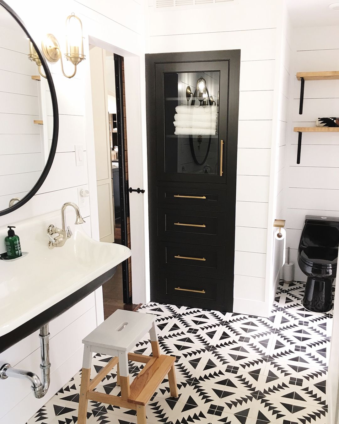 I Have Gotten Several Messages To See The Rest Of This Bathroom So Swipe To See We Are St Farmhouse Bathroom Mirrors Bathroom Tile Designs Stone Tile Bathroom