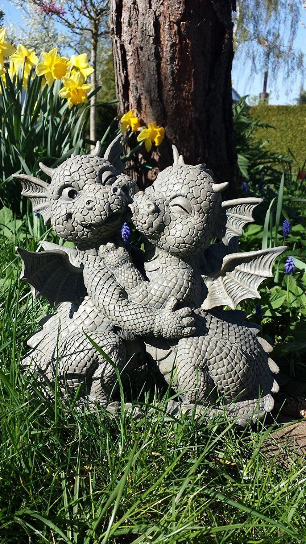 *Werbung* Süsser Gartendrache Liebespaar küsst sich Drache Figur Gartenfigur Liebe:
