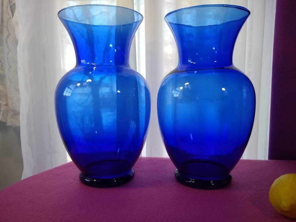 Pair Of Extra Large Cobalt Blue Flower Vases Alter Vases Floral