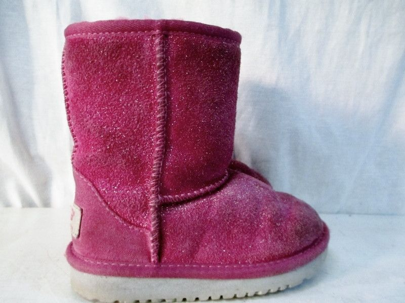 Toddler Kids Girls UGG 1002496 CLASSIC GLITTER SUEDE Boots Shoes PINK 8 FUSCHIA