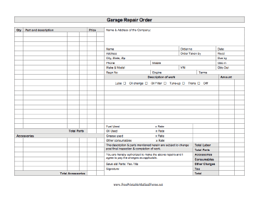 An Auto Mechanic Can Use This Printable Business Form To Write Up A Repair  Order For