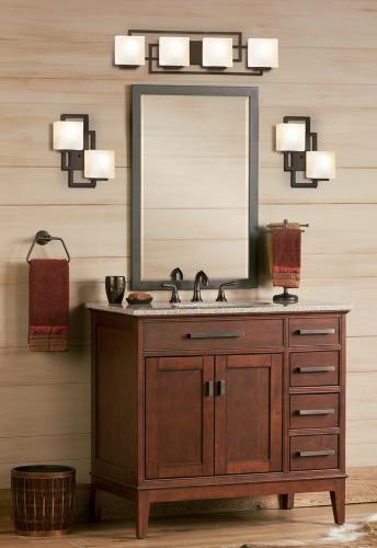 Chic square sconces make beautiful contemporary bathroom lighting ...