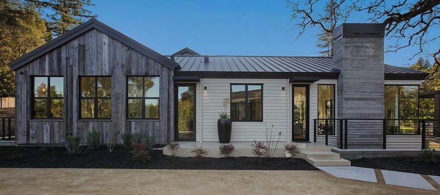 Custom modern home construction napa style modern - Rustic modern farmhouse exterior ...