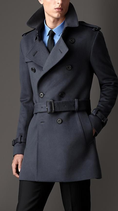 98254dc7 Burberry London S/S14 Mid-Length Virgin Wool Cashmere Trench Coat ...