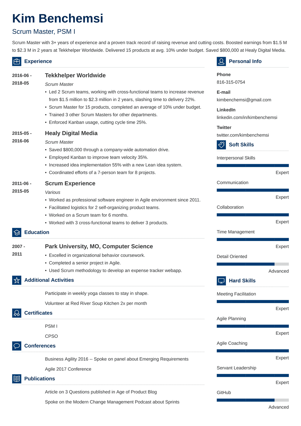 scrum master resume template vibes  resume examples job