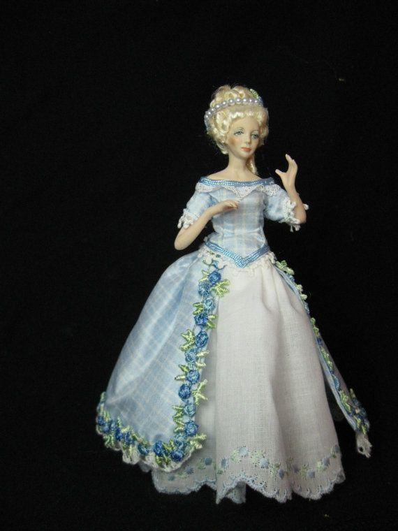 Dollhouse Miniature Victorian Doll Porcelain Fancy Maroon Dress /& Hat 1:12 Scale