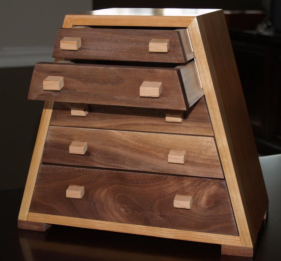 Custom Made Solid Cherry And Black Walnut Jewelry Box Bedroom DIY