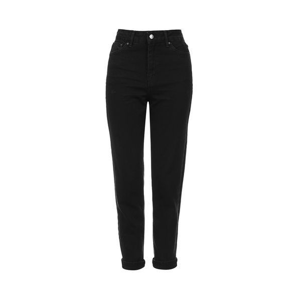 Topshop Moto Black Mom Jeans (345 DKK) ❤ liked on Polyvore featuring jeans, pants, bottoms, trousers, black, high rise jeans, high waisted jeans, high-waisted skinny jeans, highwaist jeans and cuffed jeans