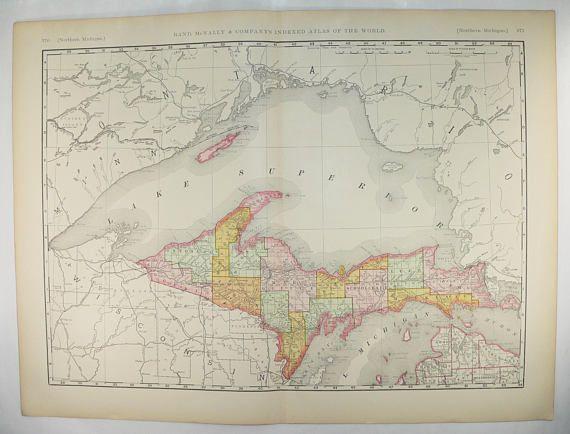 Large Upper Peninsula MI Map UP Michigan Map 1896 Large Antique