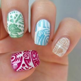 Colorful aztec / mexico manicure on white base. (in Polish)