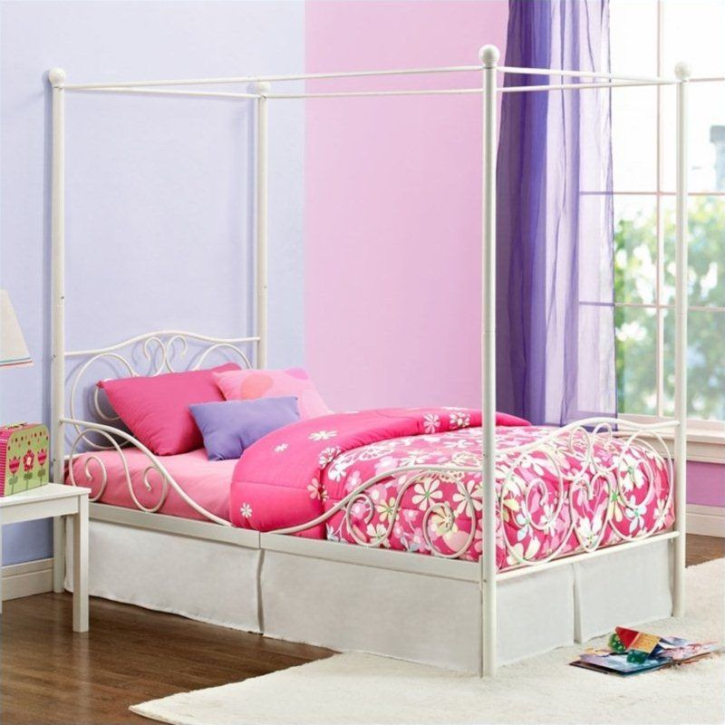 Metal Twin Canopy Bed in White