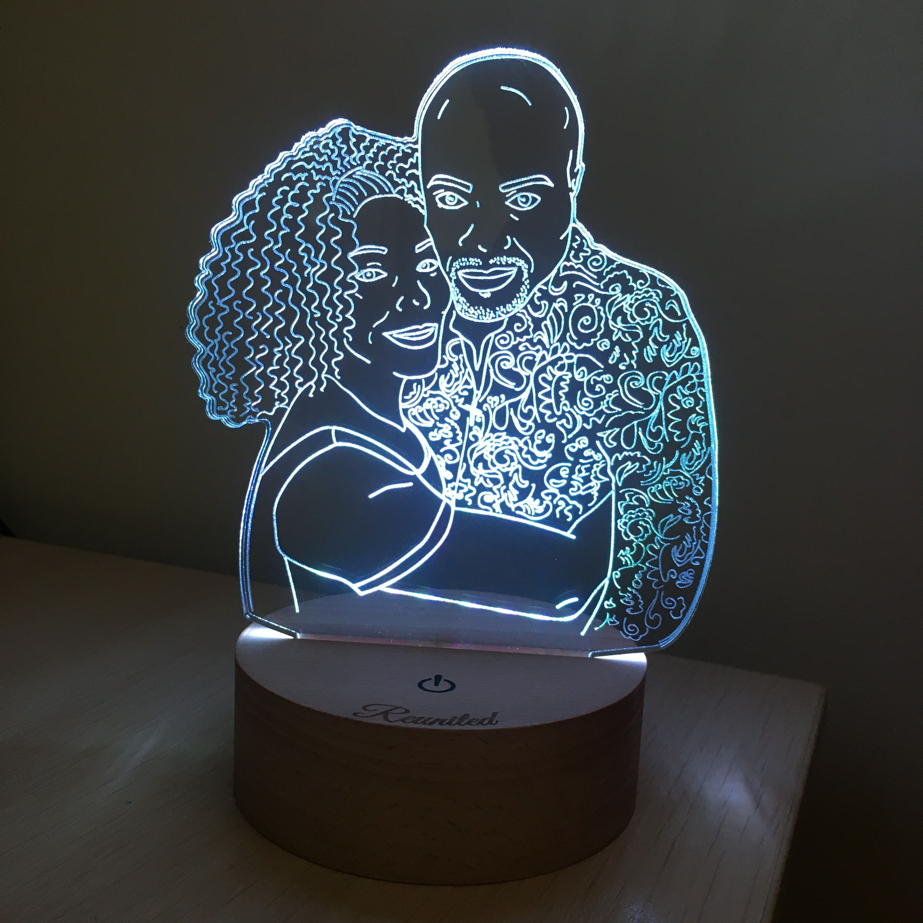 Custom Led Lamp Drawing From Photo Couple Light Nightlight Etsy In 2020 Personalized Photo Gifts 3d Led Lamp Custom Photo