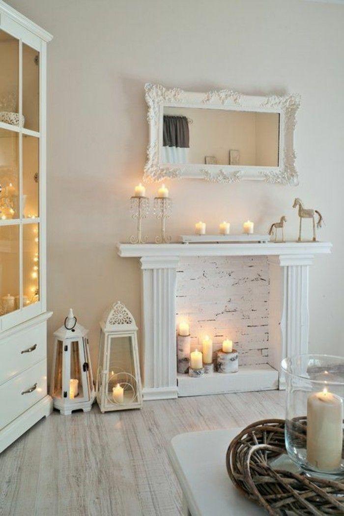 60 id es en photos avec clairage romantique lumieres d 39 interieur faux fireplace mantels - Deco cheminee interieur ...