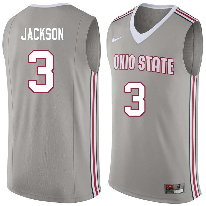 Men #3 C.J. Jackson Ohio State Buckeyes College Basketball Jerseys Sale-Gray