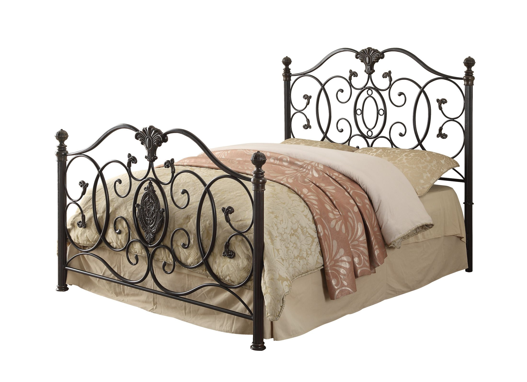 Gianna traditional black brush gold metal full bed wbed frame