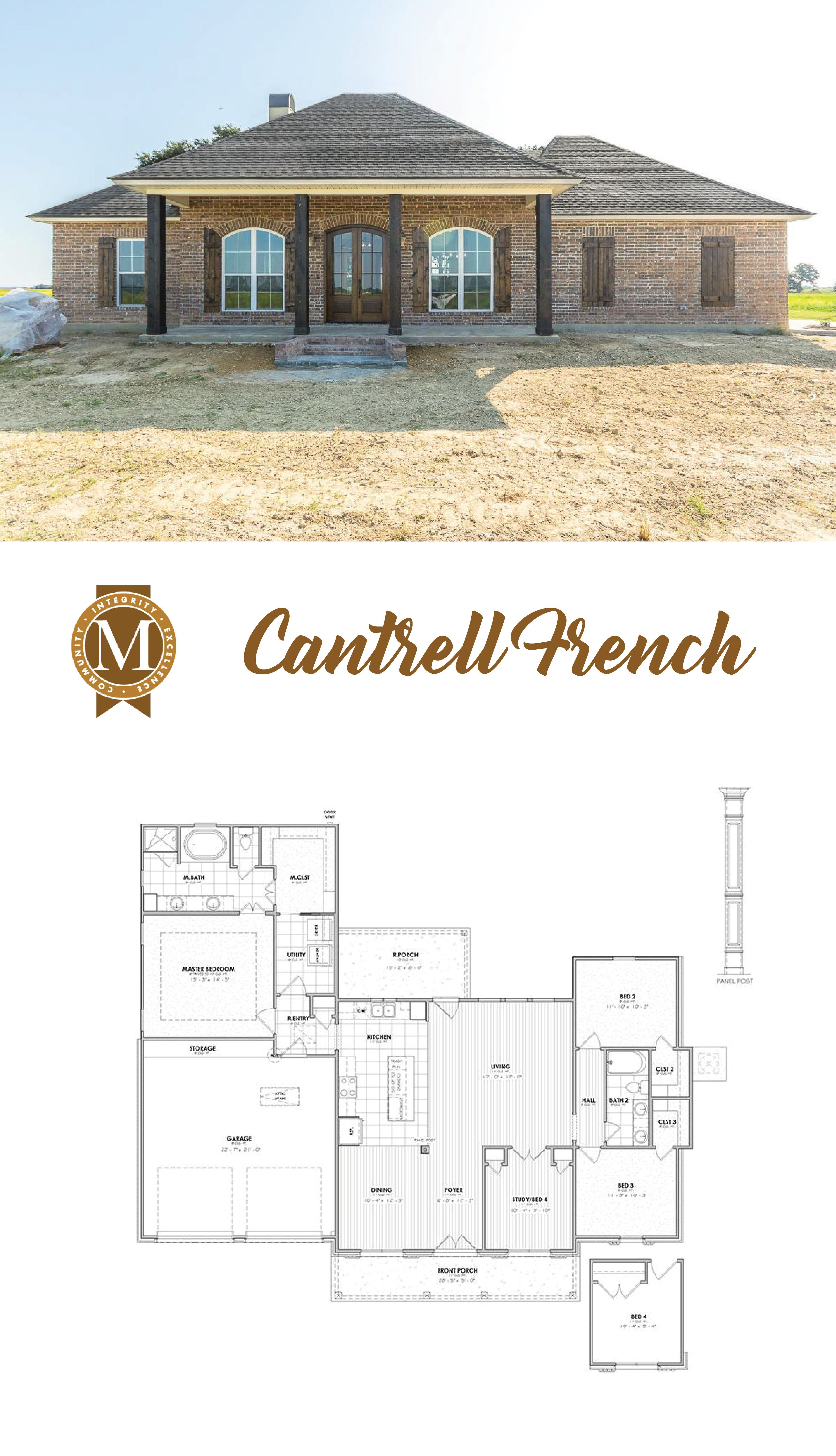 Cantrell French Living Sq Ft 1 913 Bedrooms 4 Baths 2 Lake Charles Lafayette Louisiana Baton Rouge Dream House Plans New House Plans French Cottage