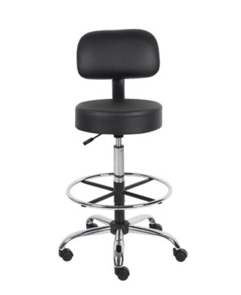 Boss Office Products Drafting Stool With Back Cushion   Black