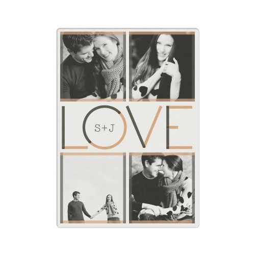 Modern Love Metal Wall Art, Single piece, 10 x 14 inches, Brushed Metal / Glossy, White