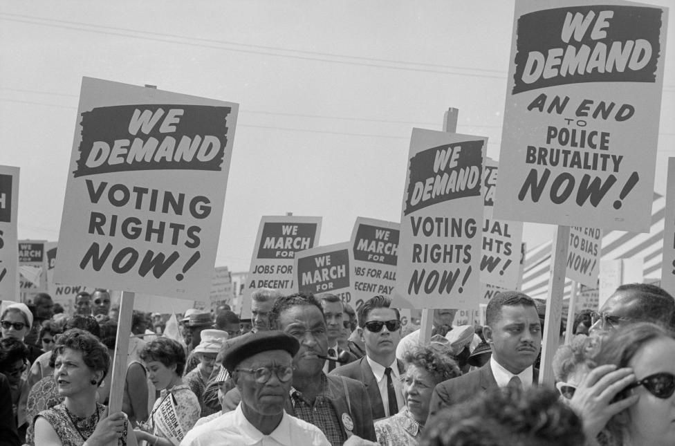 Marchers with signs during the civil rights march on Washington D.C., August 28, 1963. REUTERS/Library of Congress