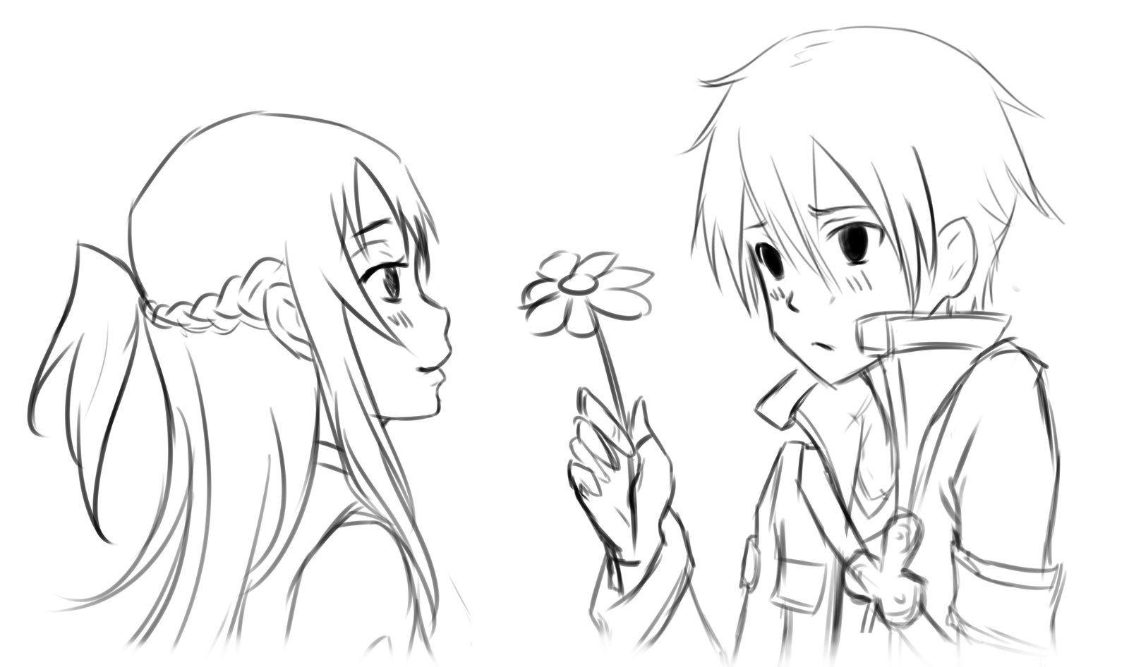 Kirito Asuna Anime-Couple-Coloring-Pages  K21 Worksheets  Manga