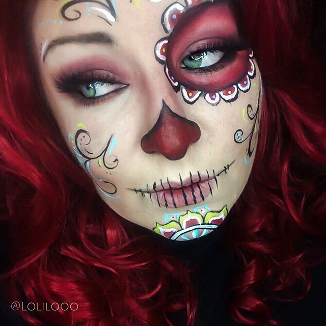 Sugar Skull MakeUp by Instagramer lolilooo Maquillaje halloween - maquillaje de halloween para nios