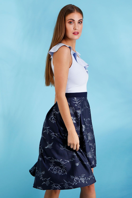 ca51cf1ac468 HYBRID KENNEDY JACQUARD FRILL DIP HEM DRESS | 2018 New Dresses | Swing Dress  | A