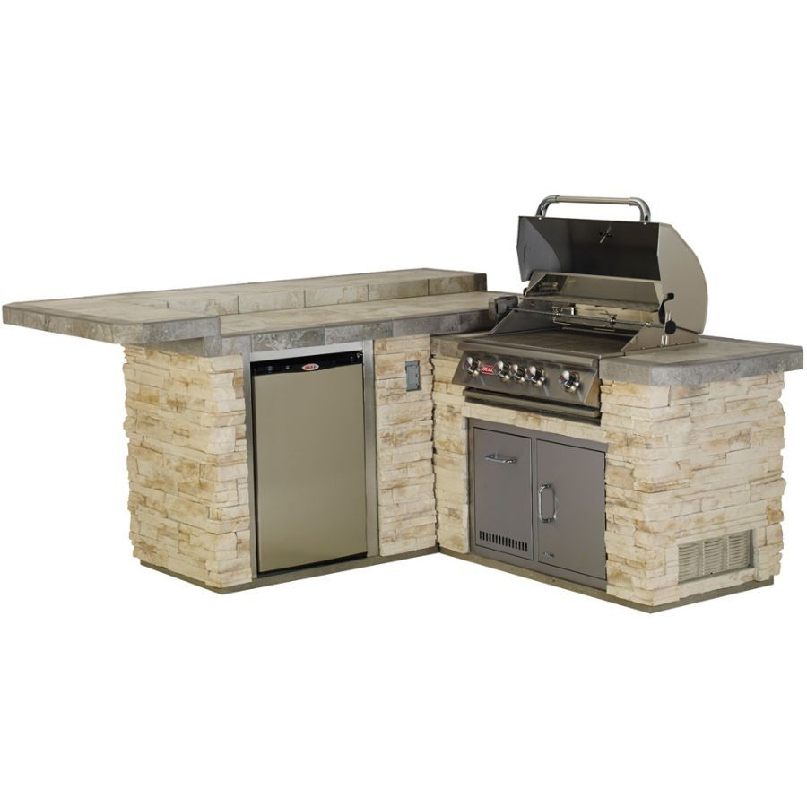 The Junior Gourmet Q Bbq Island From Bull Outdoor Products Includes The 30 Inch Angus Gas Grill Horizontal Design Fur Aussenkuche Bbq Insel Eingebauter Grill