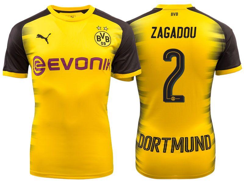 b60c5f3b44f Men s Bundesliga Borussia Dortmund  2 Dan-Axel Zagadou 17-18 Yellow  Champions League Home Short Shirt