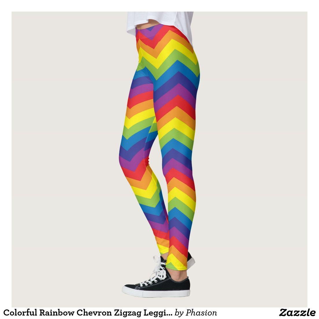 Colorful Rainbow Chevron Zigzag Leggings Zazzle Com Rainbow Chevron Print Patterns Print