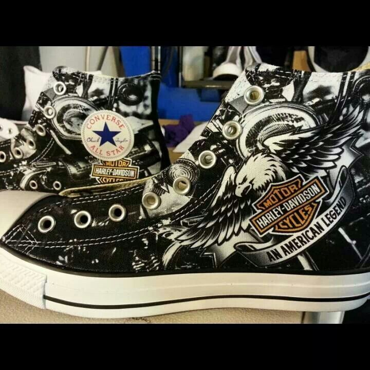 f55ed4db1cd9 Harley Davidson themed Custom Converse All Stars