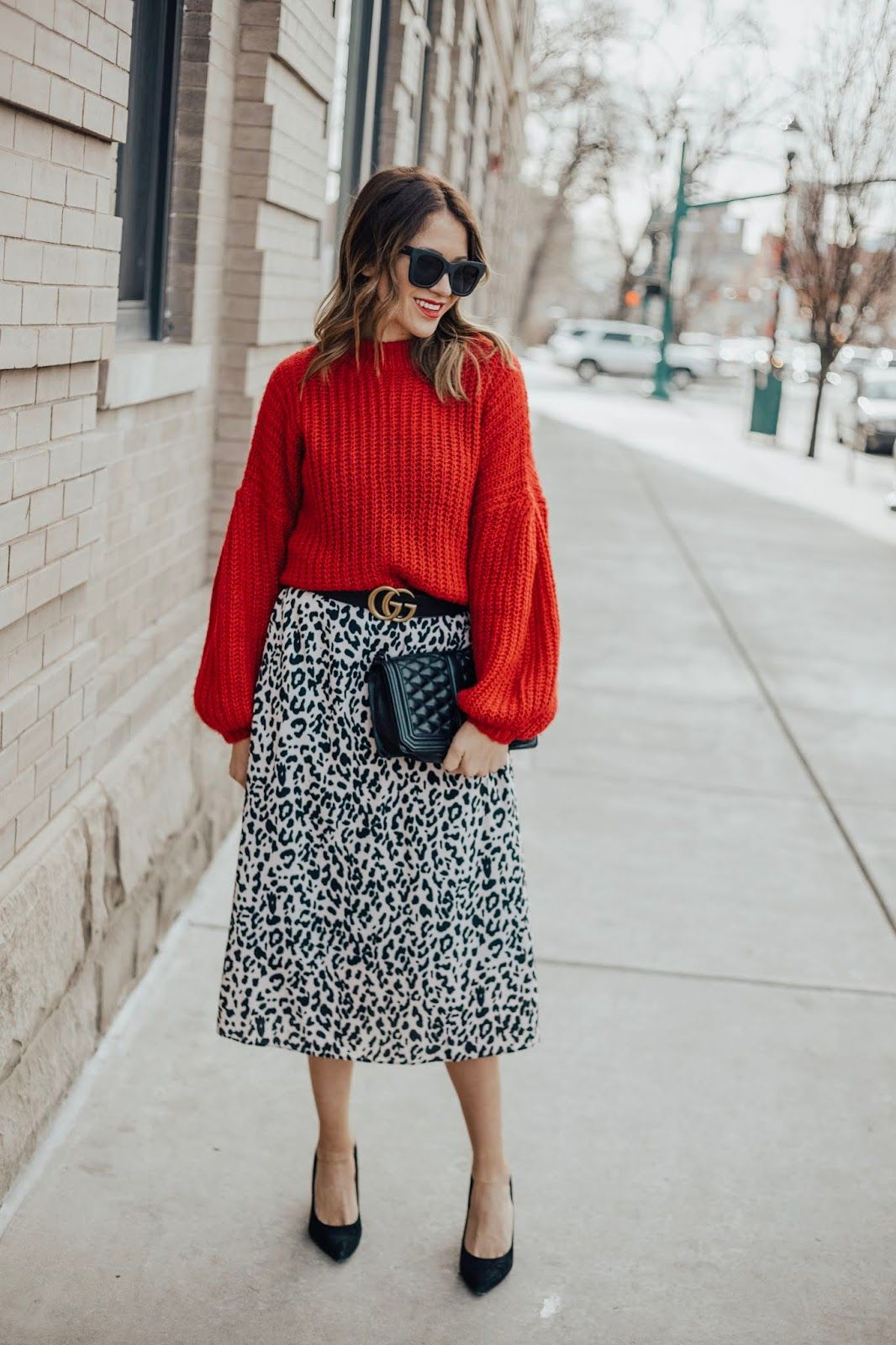Leopard Skirt + Red Sweater | Red sweater outfit, Leopard
