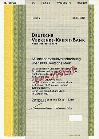 Bond From Deutsche Verkehrs Kredit Bank Dvkb Anleihe Der Deutsche Verkehrs Kredit Bank Uber 1000 Dm Zu 6 Anleihen Kredit Bank Verkehr